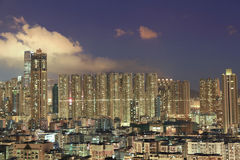 Residential district in city at night Royalty Free Stock Images