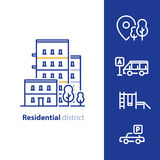 Residential district concept, real estate development, apartment building with nearby amenities Royalty Free Stock Images