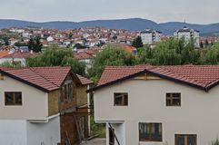 A residential district of contemporary macedonian houses in town Delchevo among Maleshevo and Osogovo mountains, Macedonia royalty free stock photos