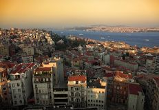 The historical region of Galata and the Bosporus in Istanbul. Royalty Free Stock Photo