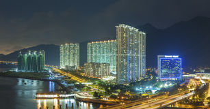 Residential district in Hong Kong city. Panorama of residential district in Hong Kong city at night Stock Image