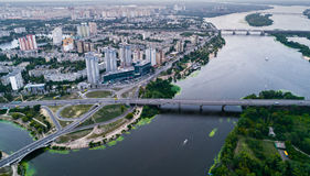 Residential district in a large metropolis with road junctions and houses. Residential district in a large metropolis with road junctions and houses near Dnepr stock photography