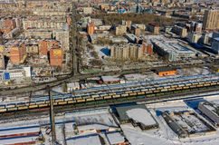 Residential district near railway. Tyumen. Russia Royalty Free Stock Image