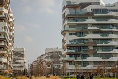 Residential district  in new area of Milan Royalty Free Stock Photography