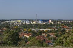 Residential district and part of industrial enterprise zone in the Ruse Stock Photo