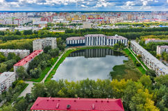 Residential district and Pond Duck. Tyumen.Russia Royalty Free Stock Images