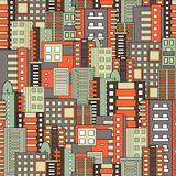 Residential district seamless pattern. Modern flat design style Royalty Free Stock Photo