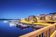 Residential District and Small Harbour Stock Photography