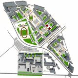 Residential district. Top view. 3d rendering on white background Stock Photos