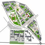 Residential district. Top view. 3d rendering on white background Stock Photography