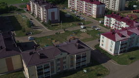 Residential District Town with Multi-storey Houses Aerial View stock footage