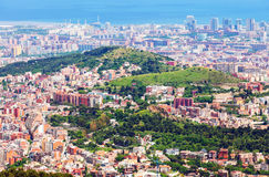 Residential districts of Barcelona  from mount Royalty Free Stock Photography