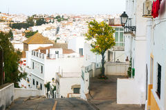 Residential districts in spanish town. View of residential districts in spanish town. Arcos de la Frontera stock images