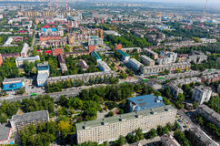 Residential districts with TV towers in Tyumen Stock Photo