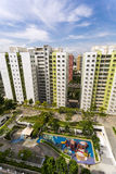 Residential estate. A high angle shot of a residential estate with roof facilities of garden and playground Stock Images