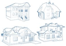Residential Family Houses Building Vector Isolated On White Stock Photography