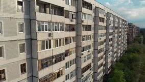 Residential USSR Multistory Building at a Sleeping Area of City, Aerial View