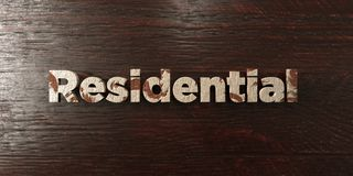 Residential - grungy wooden headline on Maple  - 3D rendered royalty free stock image Royalty Free Stock Images