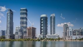 Residential high rise buildings on the lake stock footage