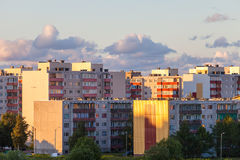Residential high-rise buildings on sunset Royalty Free Stock Photo