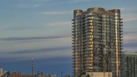 Residential high rise buildings at twilight stock footage