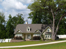 Residential Home. One story residential home with board siding on the facade Stock Images
