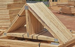 Residential home construction prefab trusses stock photography