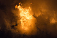 Residential home on fire Royalty Free Stock Photos