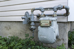 Residential Home Gas Meter Stock Photo