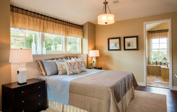 Residential Model Home Master Bedroom royalty free stock photography