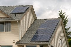 Residential Home Roof Solar Panels Royalty Free Stock Photos