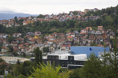 Residential homes and apartment buildings on the hillside in Sarajevo, Bosnia and Herzegovina Stock Image