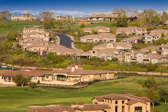 Residential homes on a hilly golf course Stock Image