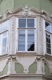 Residential hous detail with window pediment in Graz Stock Photo