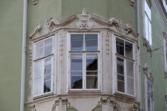 Residential hous detail with window pediment in Graz. Styria, Austria Royalty Free Stock Images