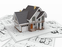 Residential house on architect blueprints. Housing project. stock illustration