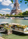 Residential house barge on the Seine near the Eiffel Tower Stock Photo