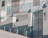 House in Albaicin Granada. A residential house with blue gate and railing, Albaicin, Granada, Spain stock photo