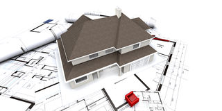 Residential house on blueprint Royalty Free Stock Photography