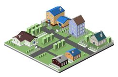 Residential house buildings. Residential house 3d buildings isometric neighborhood real estate concept vector illustration Royalty Free Stock Photography