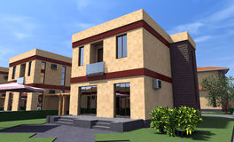 Residential house 3D Royalty Free Stock Photos