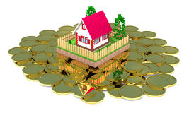 Residential house and gold coins. Stock Photography