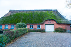 Residential house with a green mossy thatch roof Royalty Free Stock Photos