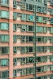 Residential house in Hong Kong, China. Windows of apartmens in residential house of Hong Kong, China. Skyscrapers of Hong Kong stock image