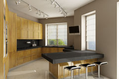 Residential house interior. Common space: kitchen, dining room, living room. 3D render stock photos