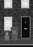 Residential House. Monochrome residential house on street with recycling bins out ready for collection Royalty Free Stock Photography