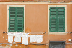 Residential house in Monterosso, Cinque Terre, Italy. Laundry line of residential house in Monterosso, Cinque Terre, Italy Stock Photos