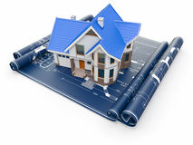 Residential House On Architect Blueprints. Housing Project. Royalty Free Stock Photo