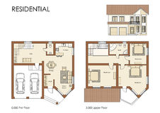 Residential house plan. Residential house cad floor plan blueprint project royalty free illustration