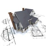 Residential house on plans Royalty Free Stock Image